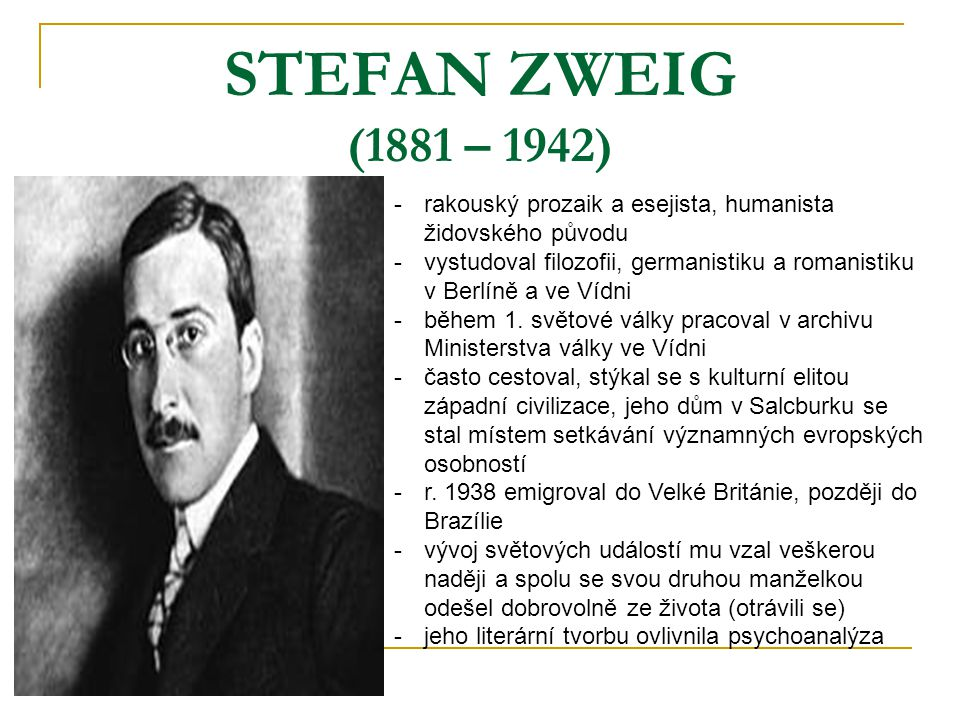 STEFAN ZWEIG (1881 – 1942) rakouský prozaik a esejista, humanista židovského původu.