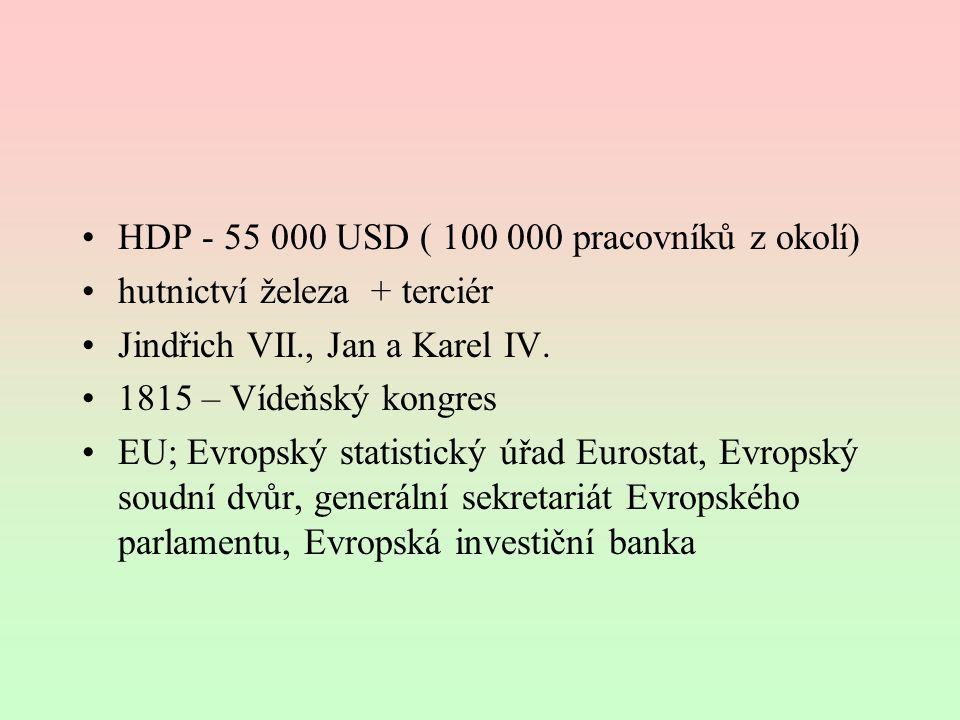 HDP - 55 000 USD ( 100 000 pracovníků z okolí)