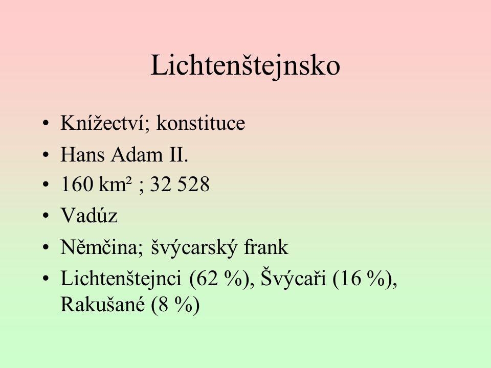 Lichtenštejnsko Knížectví; konstituce Hans Adam II. 160 km² ; 32 528