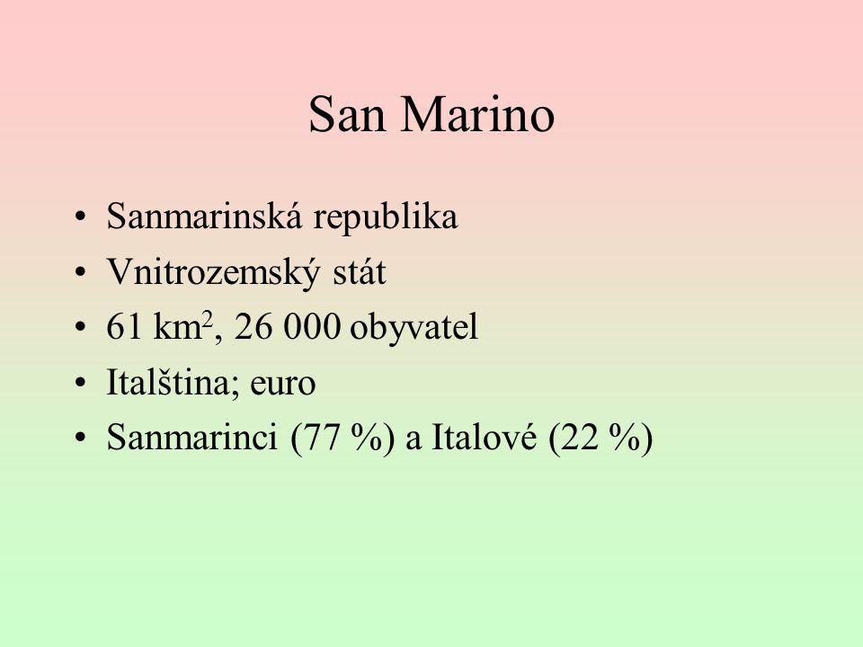 San Marino Sanmarinská republika Vnitrozemský stát