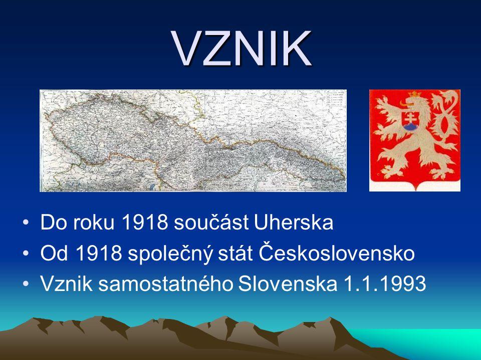 VZNIK Do roku 1918 součást Uherska
