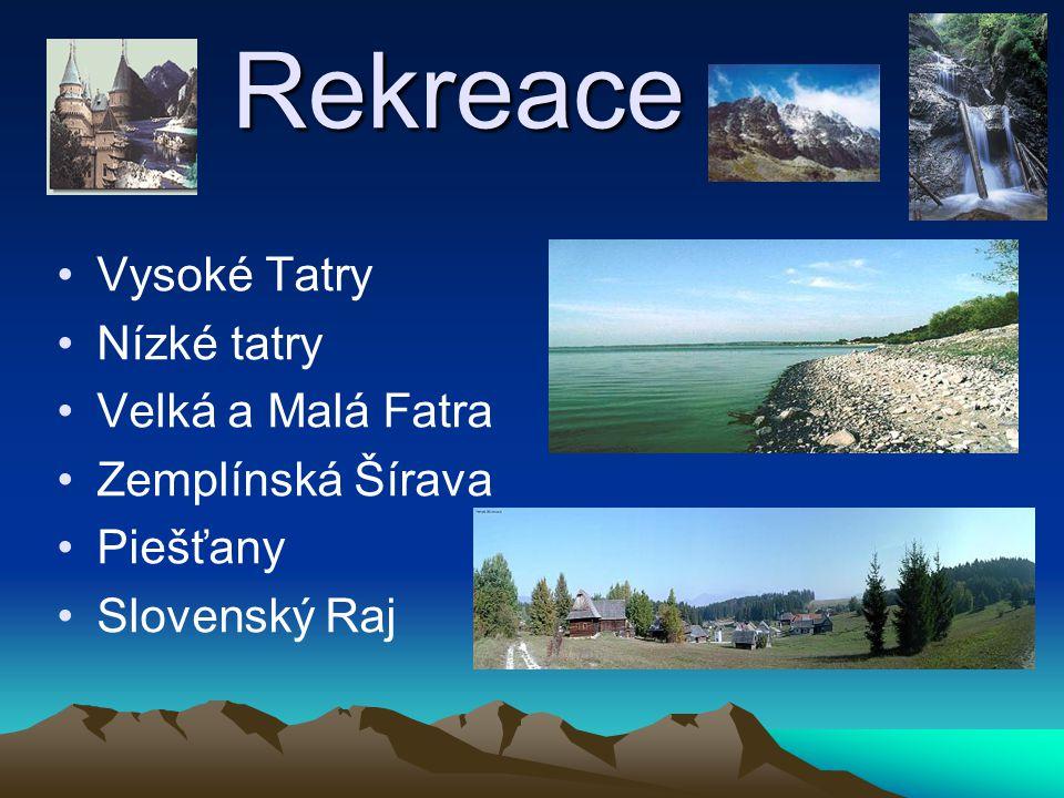 Rekreace Vysoké Tatry Nízké tatry Velká a Malá Fatra Zemplínská Šírava