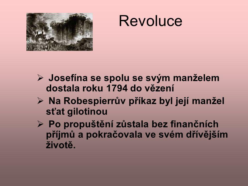 Revoluce Josefína se spolu se svým manželem dostala roku 1794 do vězení. Na Robespierrův příkaz byl její manžel sťat gilotinou.