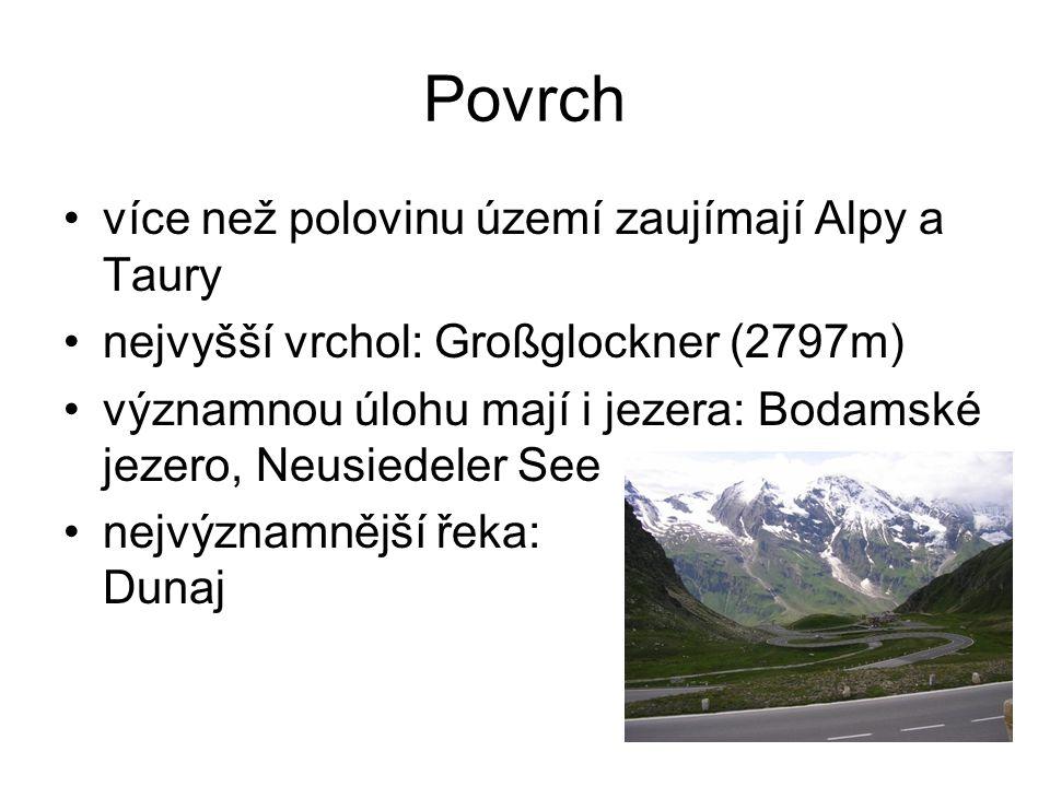 Povrch více než polovinu území zaujímají Alpy a Taury