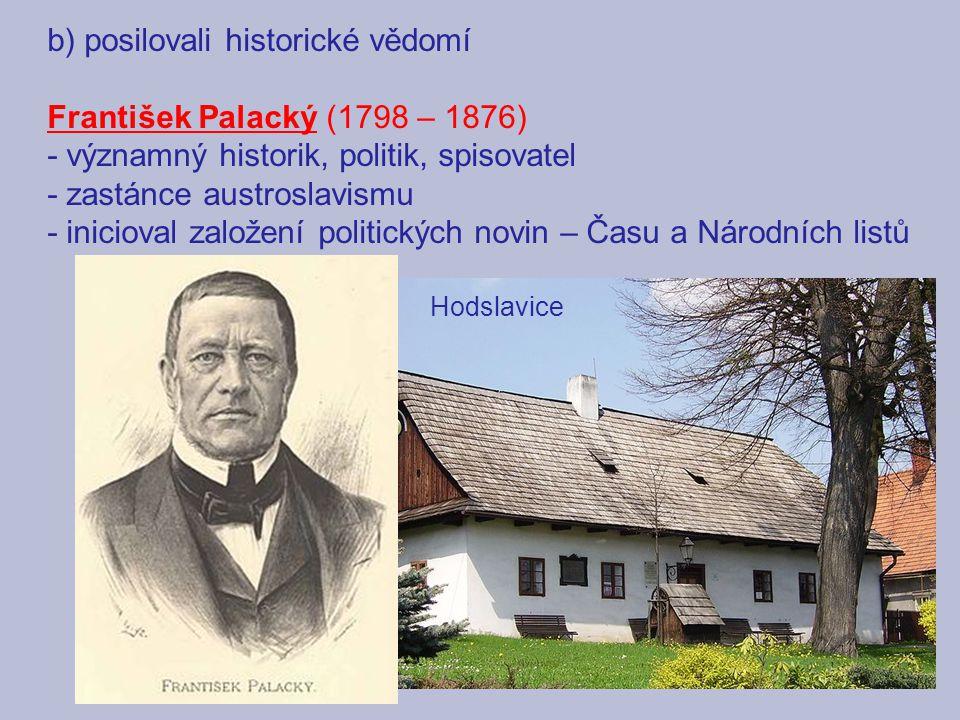 b) posilovali historické vědomí František Palacký (1798 – 1876)