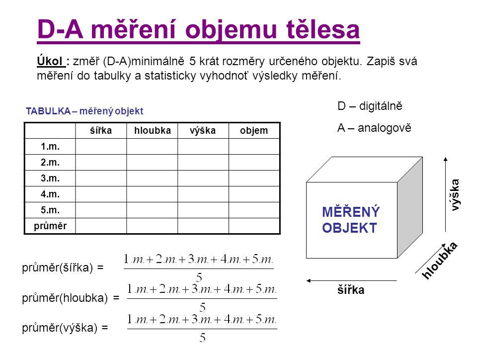 D-A měření objemu tělesa