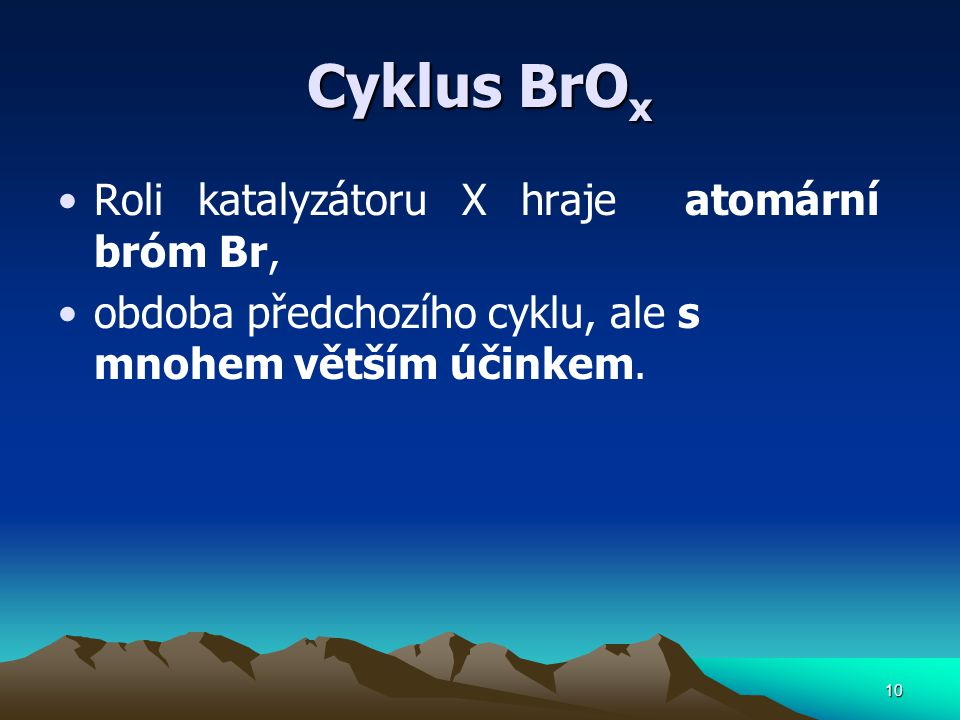 Cyklus BrOx Roli katalyzátoru X hraje atomární bróm Br,