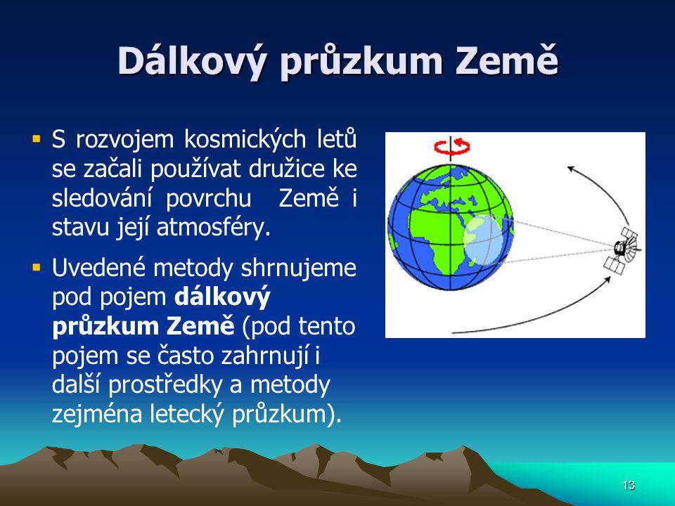Dálkový průzkum Země S rozvojem kosmických letů se začali používat družice ke sledování povrchu Země i stavu její atmosféry.