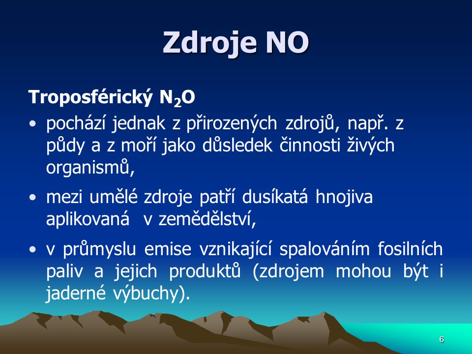 Zdroje NO Troposférický N2O