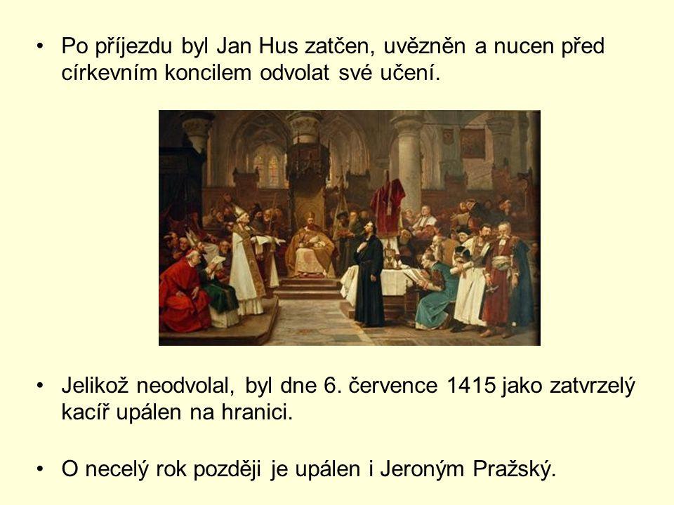 Po příjezdu byl Jan Hus zatčen, uvězněn a nucen před církevním koncilem odvolat své učení.