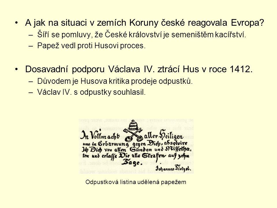 A jak na situaci v zemích Koruny české reagovala Evropa