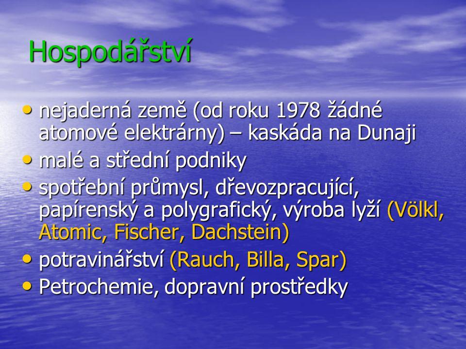 Hospodářství nejaderná země (od roku 1978 žádné atomové elektrárny) – kaskáda na Dunaji. malé a střední podniky.