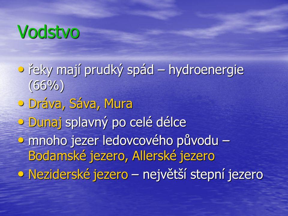Vodstvo řeky mají prudký spád – hydroenergie (66%) Dráva, Sáva, Mura