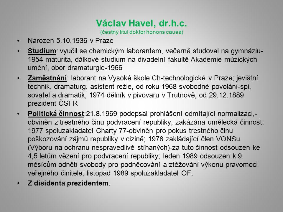 Václav Havel, dr.h.c. (čestný titul doktor honoris causa)