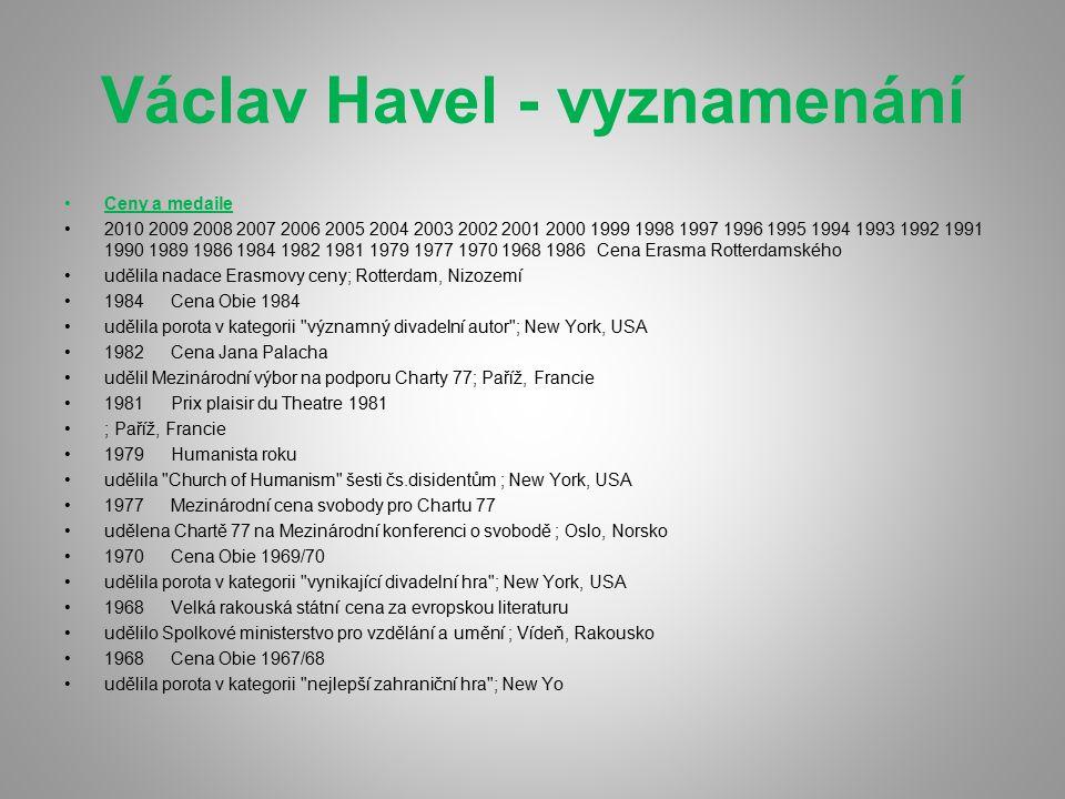 Václav Havel - vyznamenání
