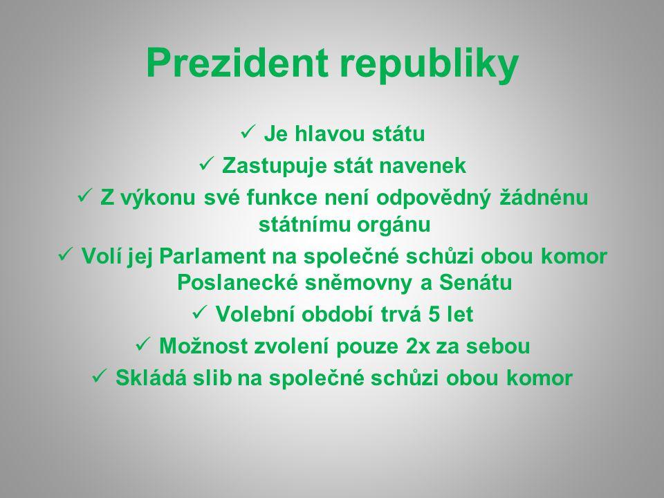 Prezident republiky Je hlavou státu Zastupuje stát navenek