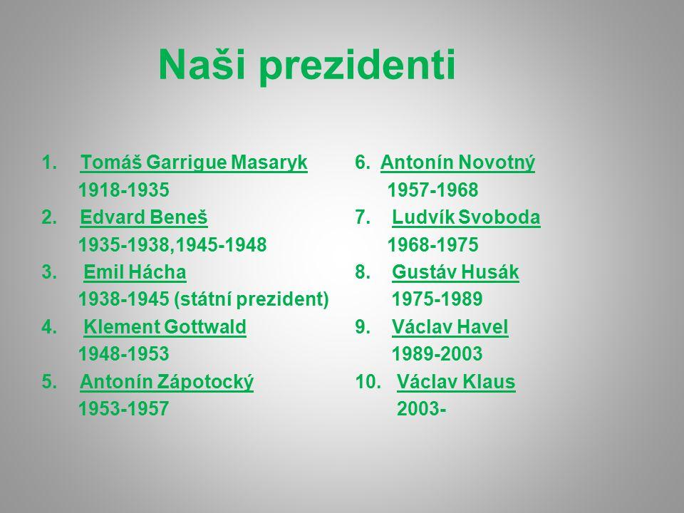 Naši prezidenti Tomáš Garrigue Masaryk 1918-1935 Edvard Beneš