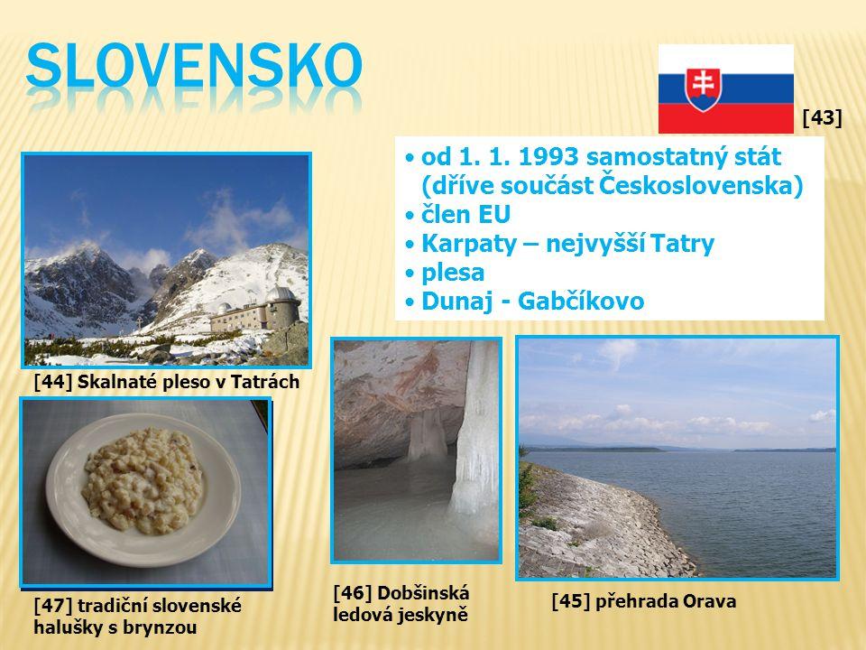 SLOVENSKO od 1. 1. 1993 samostatný stát (dříve součást Československa)