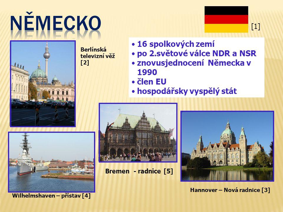 NĚMECKO 16 spolkových zemí po 2.světové válce NDR a NSR