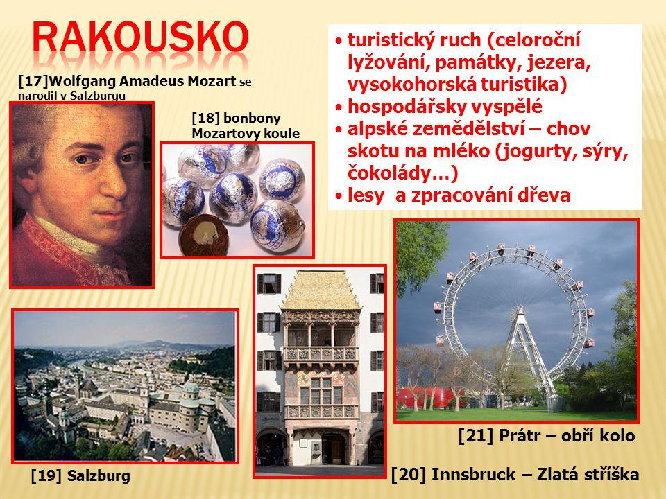 RAKOUSKO turistický ruch (celoroční lyžování, památky, jezera, vysokohorská turistika) hospodářsky vyspělé.