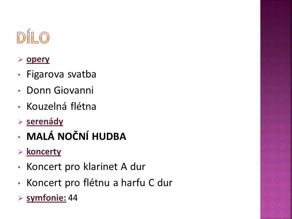 DÍLO Figarova svatba Donn Giovanni Kouzelná flétna MALÁ NOČNÍ HUDBA