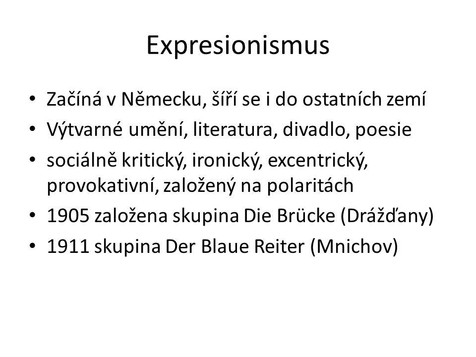 Expresionismus Začíná v Německu, šíří se i do ostatních zemí