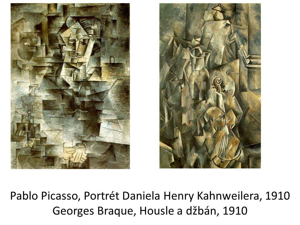 Pablo Picasso, Portrét Daniela Henry Kahnweilera, 1910 Georges Braque, Housle a džbán, 1910