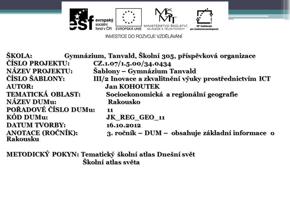 ŠKOLA: Gymnázium, Tanvald, Školní 305, příspěvková organizace
