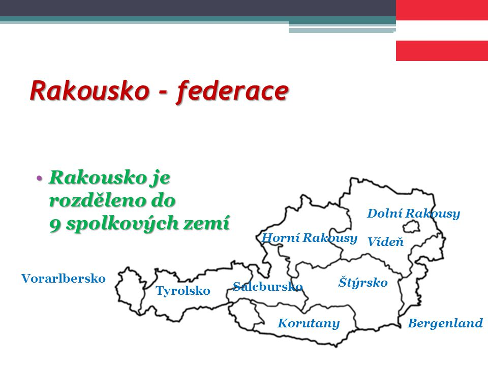 Rakousko - federace Rakousko je rozděleno do 9 spolkových zemí