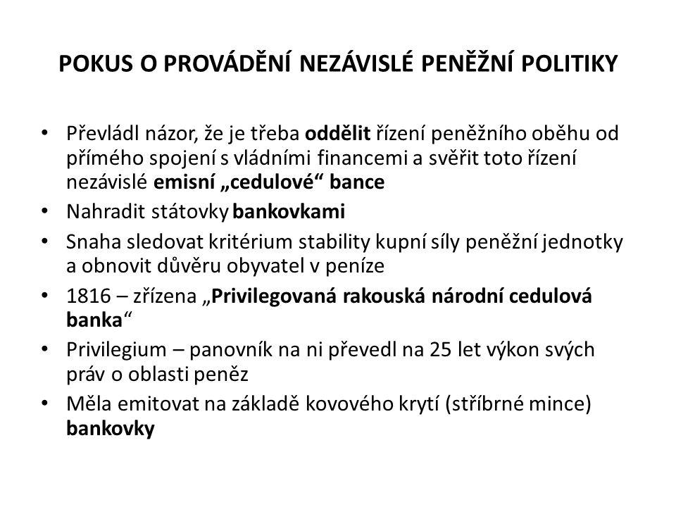 POKUS O PROVÁDĚNÍ NEZÁVISLÉ PENĚŽNÍ POLITIKY