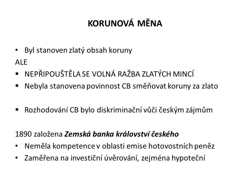 KORUNOVÁ MĚNA Byl stanoven zlatý obsah koruny ALE