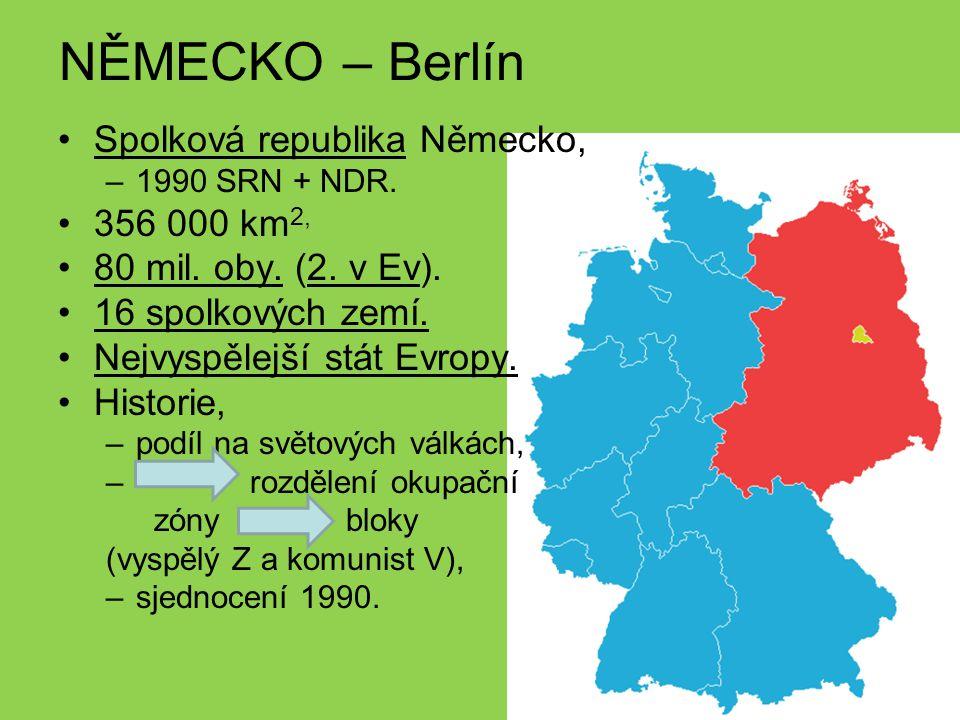 NĚMECKO – Berlín Spolková republika Německo, 356 000 km2,