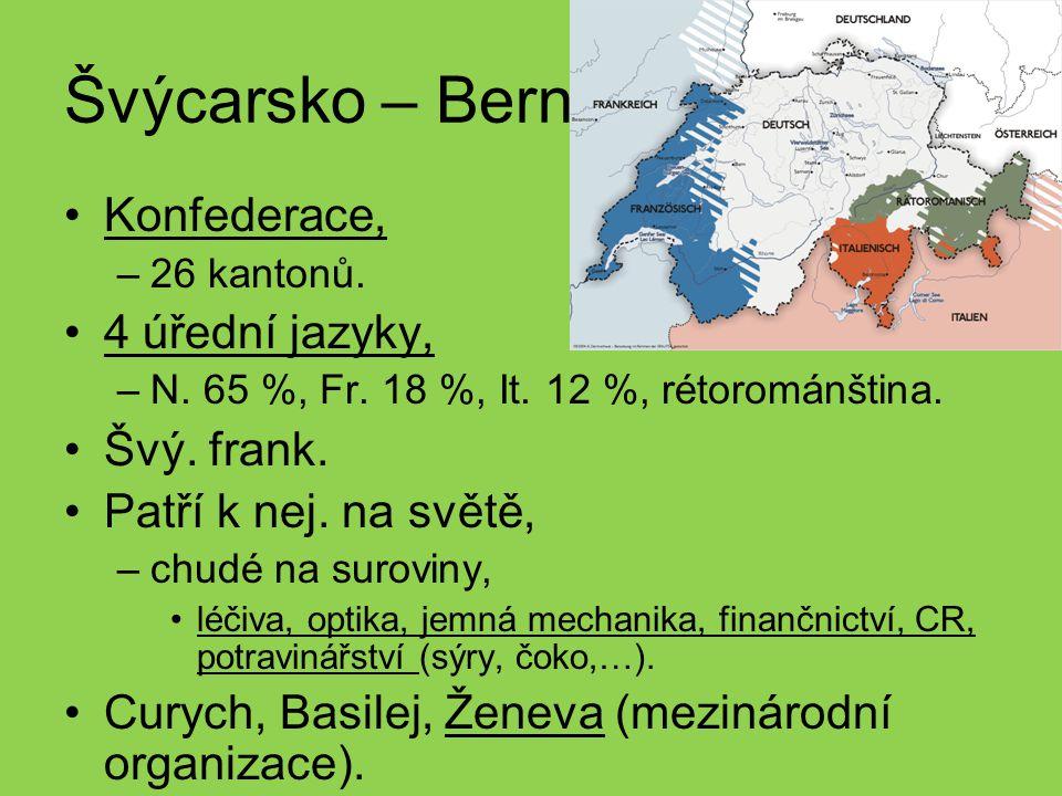 Švýcarsko – Bern Konfederace, 4 úřední jazyky, Švý. frank.