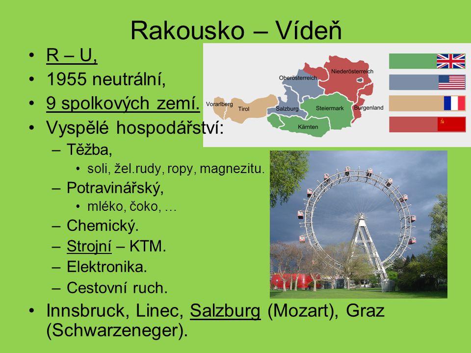 Rakousko – Vídeň R – U, 1955 neutrální, 9 spolkových zemí.