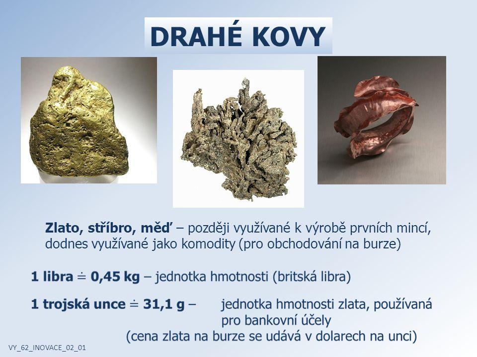 DRAHÉ KOVY Zlato, stříbro, měď – později využívané k výrobě prvních mincí, dodnes využívané jako komodity (pro obchodování na burze)