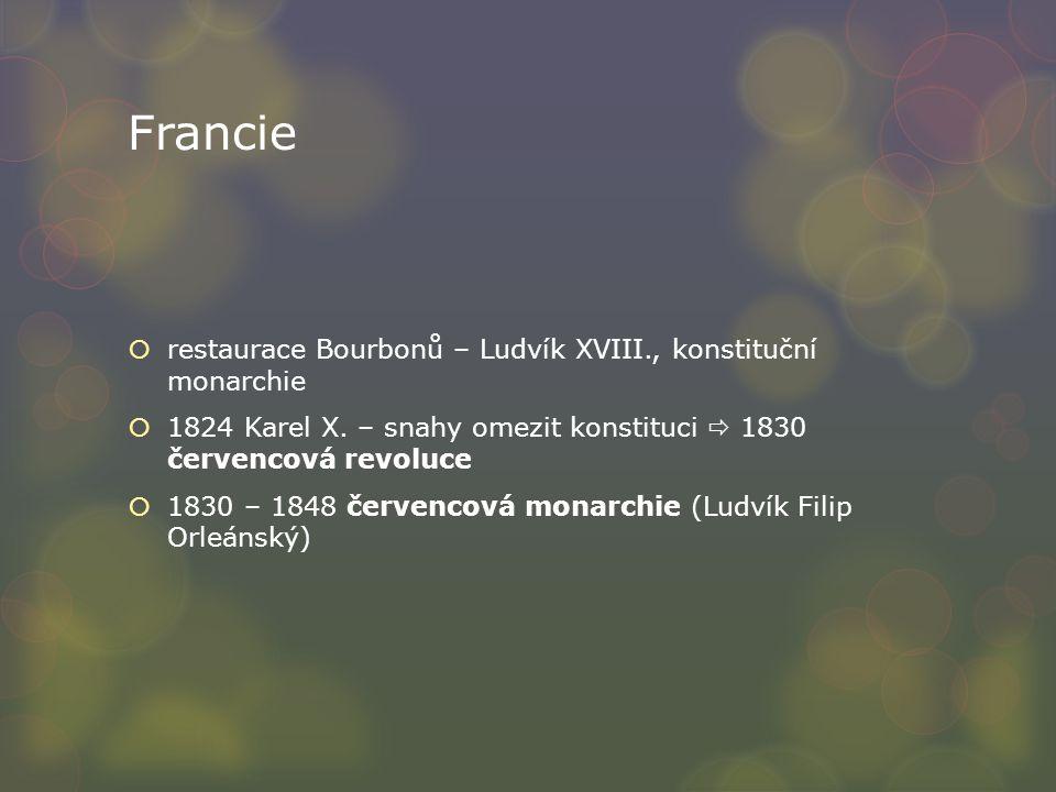 Francie restaurace Bourbonů – Ludvík XVIII., konstituční monarchie