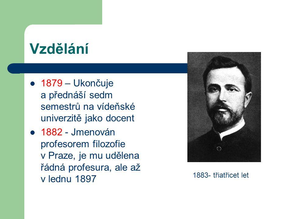 Vzdělání 1879 – Ukončuje a přednáší sedm semestrů na vídeňské univerzitě jako docent.