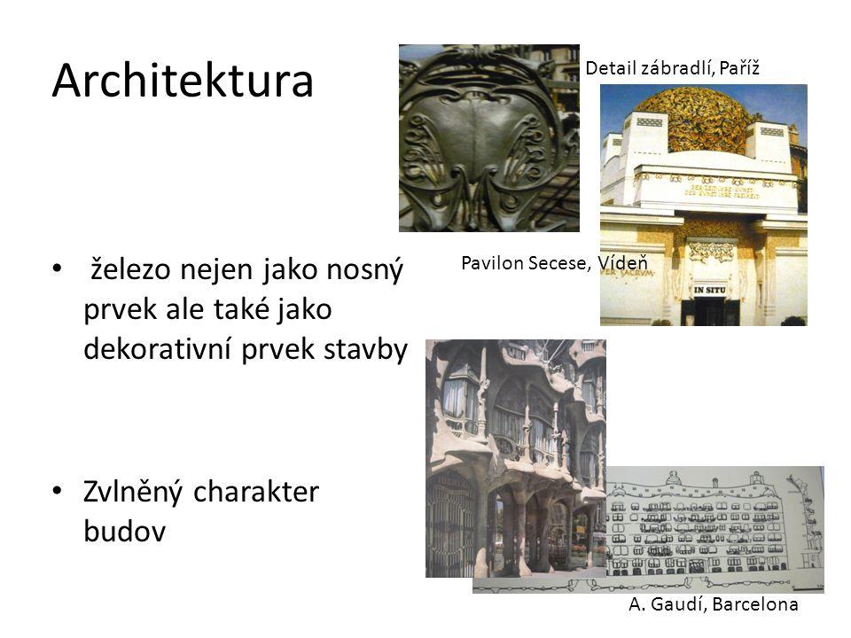 Architektura Detail zábradlí, Paříž. železo nejen jako nosný prvek ale také jako dekorativní prvek stavby.