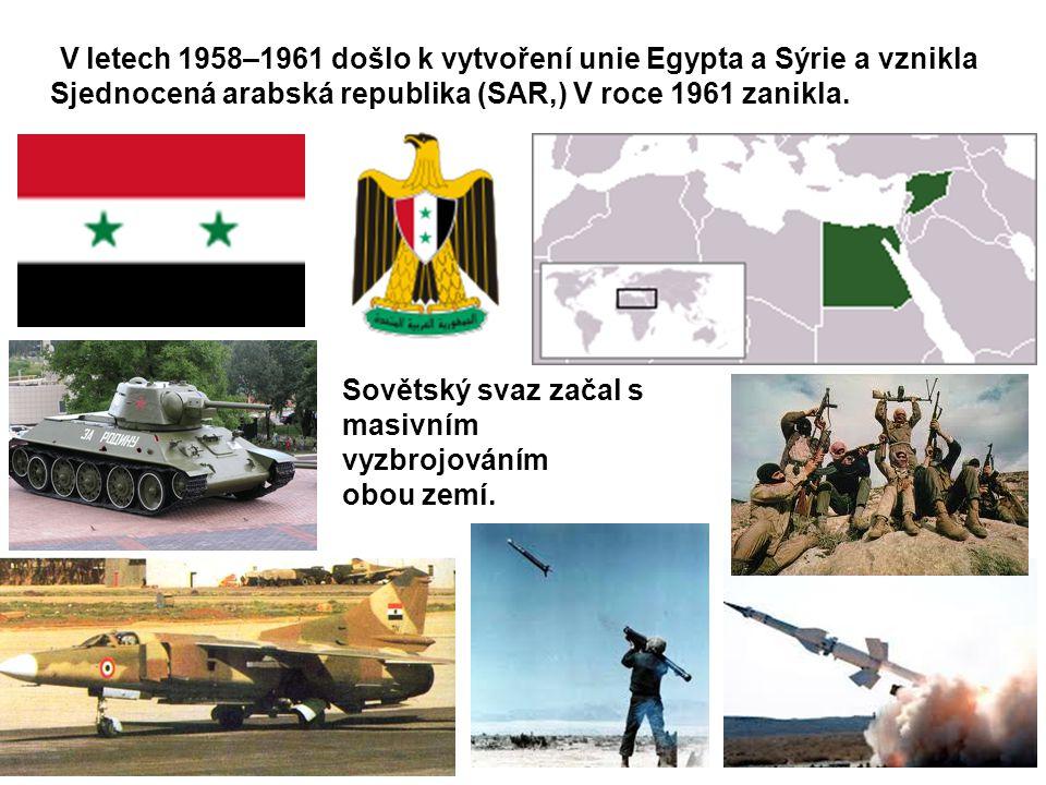 V letech 1958–1961 došlo k vytvoření unie Egypta a Sýrie a vznikla Sjednocená arabská republika (SAR,) V roce 1961 zanikla.