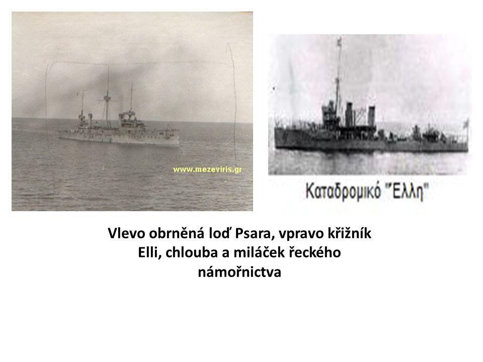 Vlevo obrněná loď Psara, vpravo křižník Elli, chlouba a miláček řeckého námořnictva
