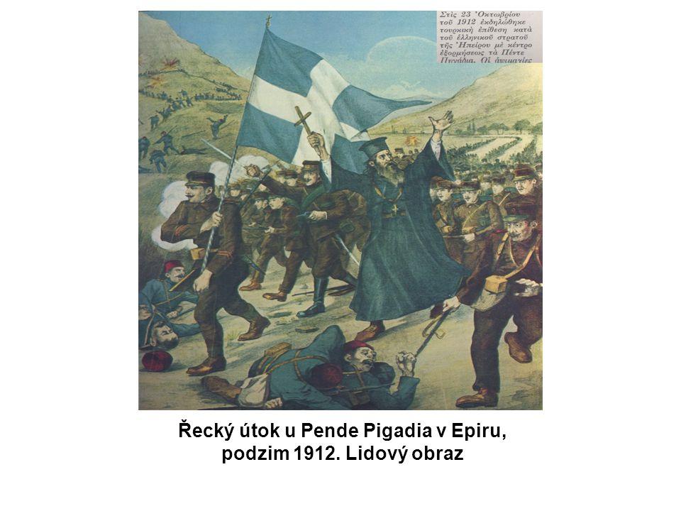 Řecký útok u Pende Pigadia v Epiru, podzim 1912. Lidový obraz