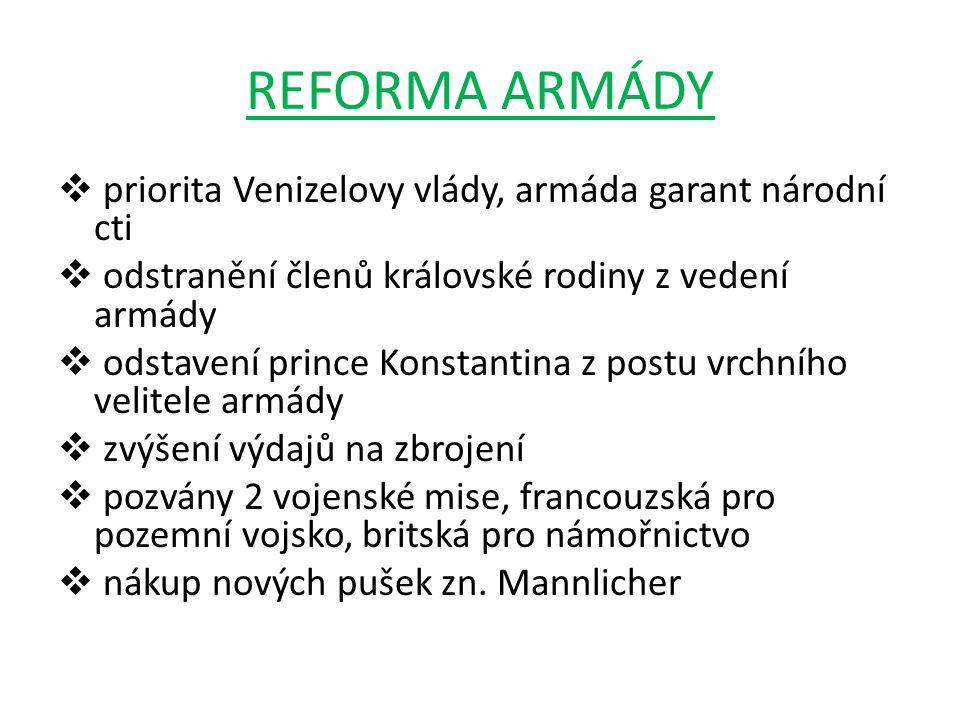 REFORMA ARMÁDY priorita Venizelovy vlády, armáda garant národní cti