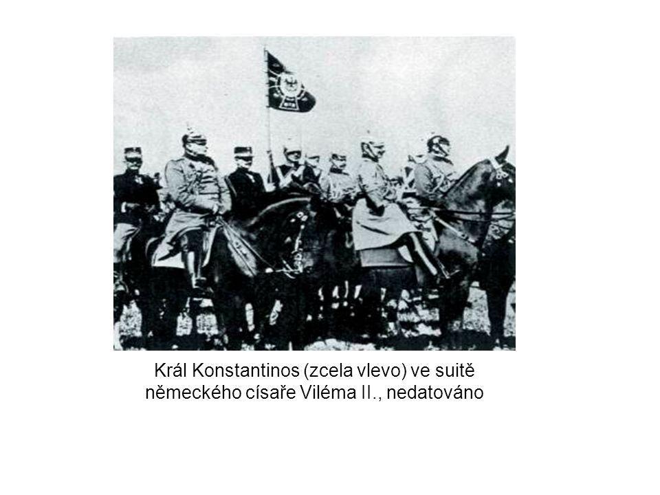 Král Konstantinos (zcela vlevo) ve suitě německého císaře Viléma II