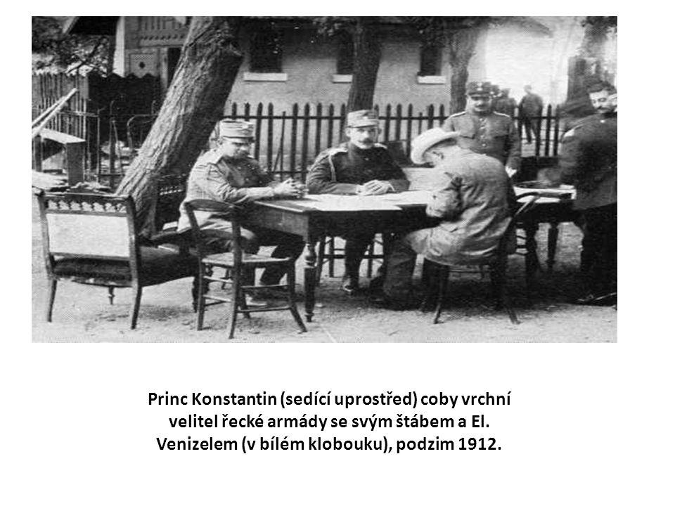 Princ Konstantin (sedící uprostřed) coby vrchní velitel řecké armády se svým štábem a El.