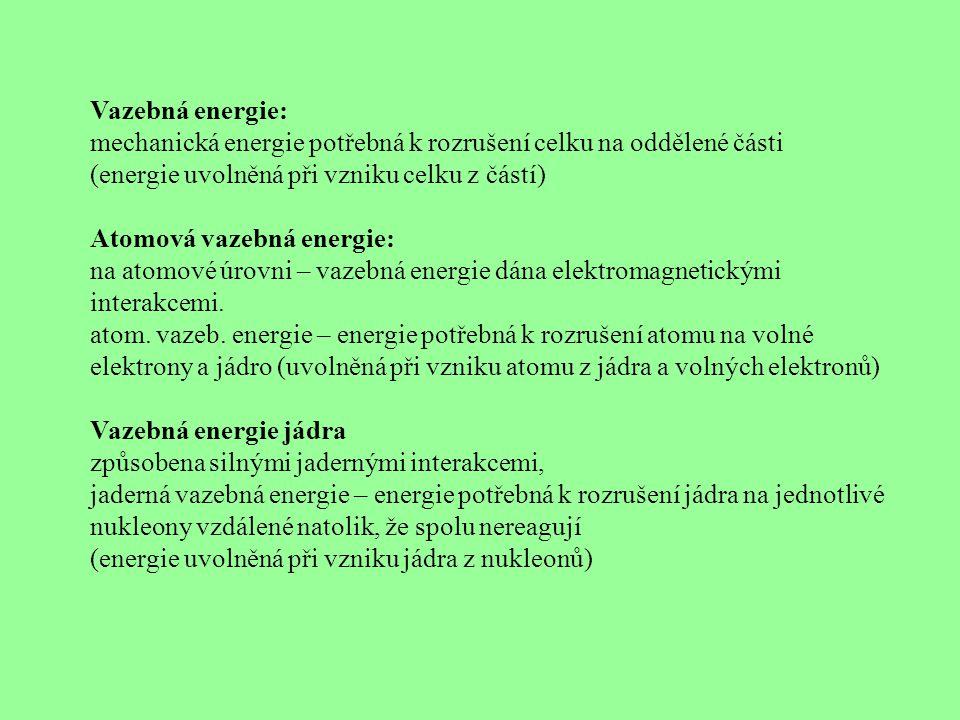 Vazebná energie: mechanická energie potřebná k rozrušení celku na oddělené části. (energie uvolněná při vzniku celku z částí)