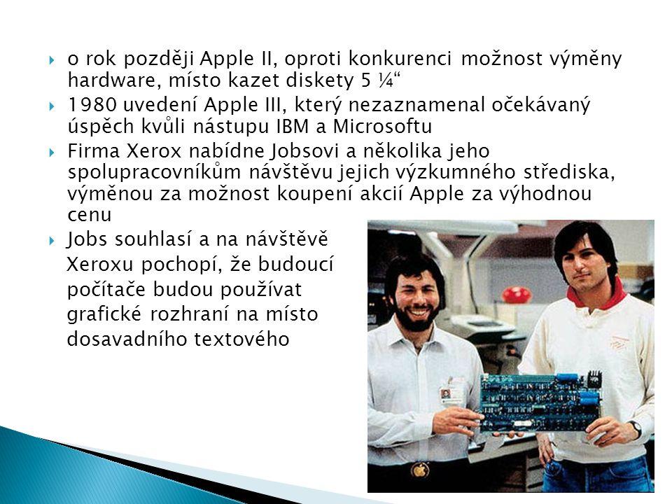o rok později Apple II, oproti konkurenci možnost výměny hardware, místo kazet diskety 5 ¼