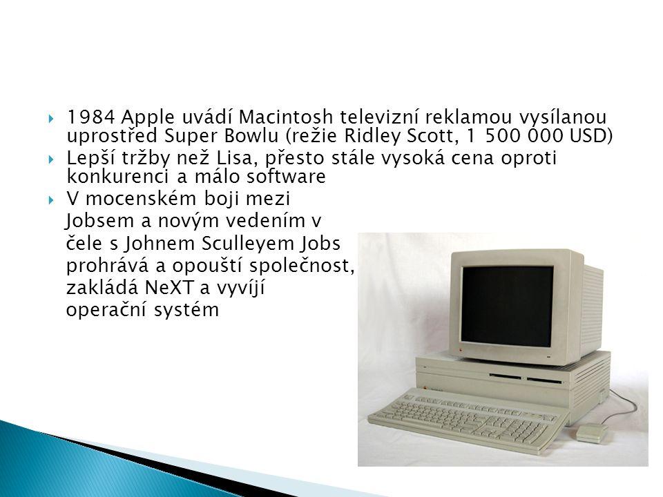 1984 Apple uvádí Macintosh televizní reklamou vysílanou uprostřed Super Bowlu (režie Ridley Scott, 1 500 000 USD)