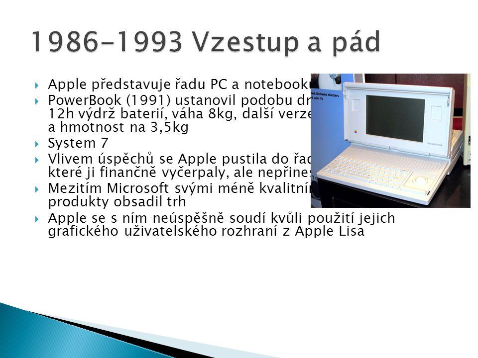 1986-1993 Vzestup a pád Apple představuje řadu PC a notebooků