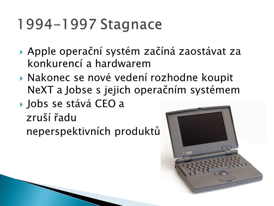 1994-1997 Stagnace Apple operační systém začíná zaostávat za konkurencí a hardwarem.