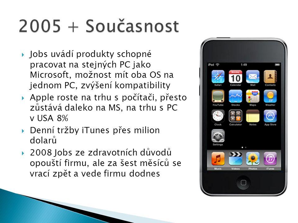 2005 + Současnost Jobs uvádí produkty schopné pracovat na stejných PC jako Microsoft, možnost mít oba OS na jednom PC, zvýšení kompatibility.